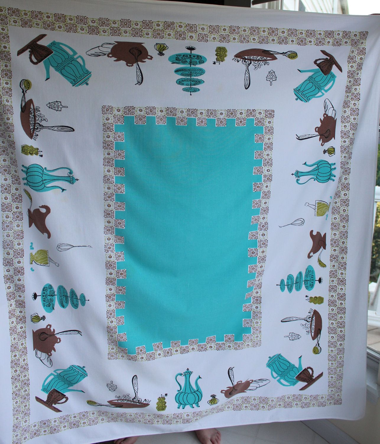 Vintage Tablecloth teal brown and green kitchen motif 1950\'s mid ...
