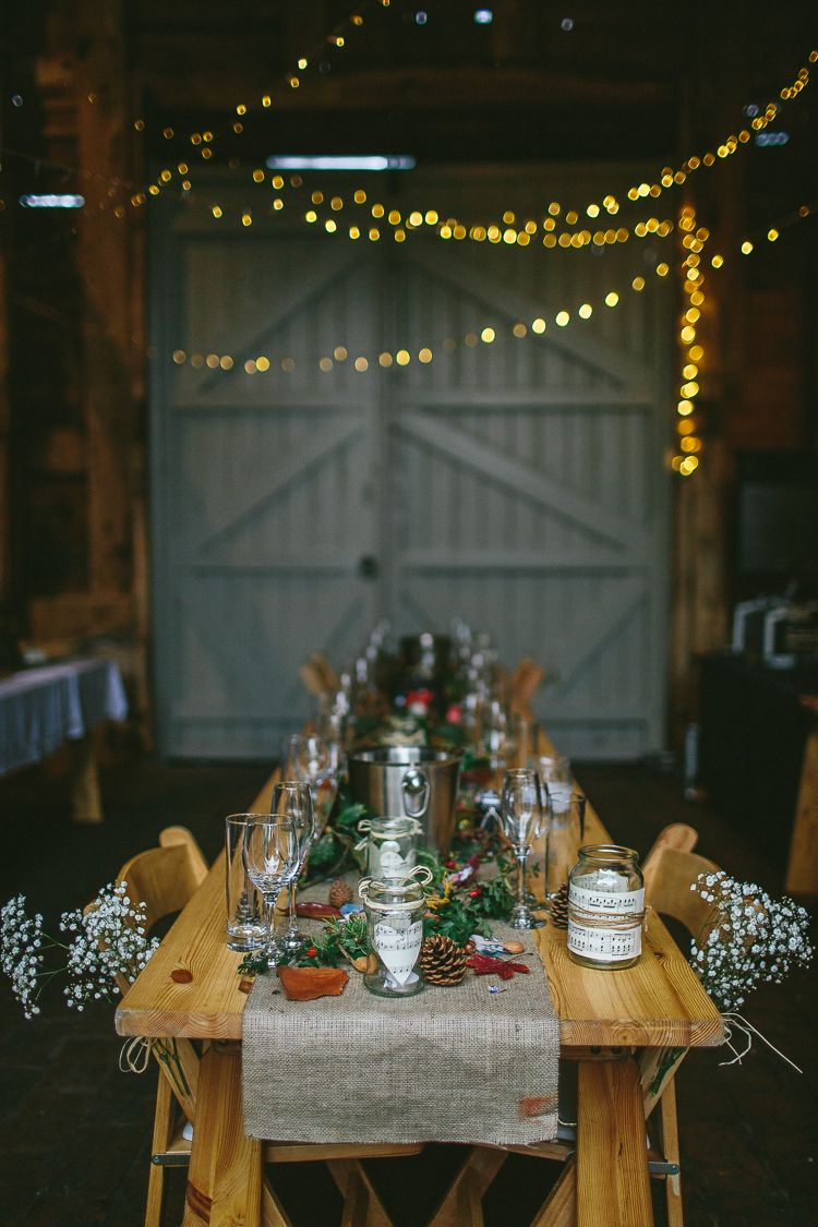 Barn wedding with fairy lights  Amazing Natural Rustic u Hand Crafted Autumn Fairy Lights Wedding