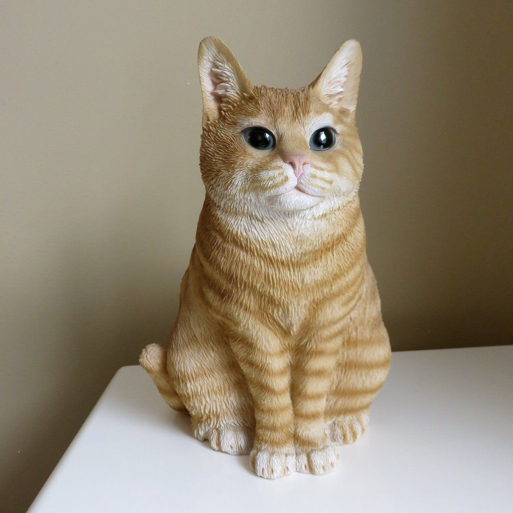 Silver Tabby Cat Standing Hand Painted Canine Collectable Figurine Statue