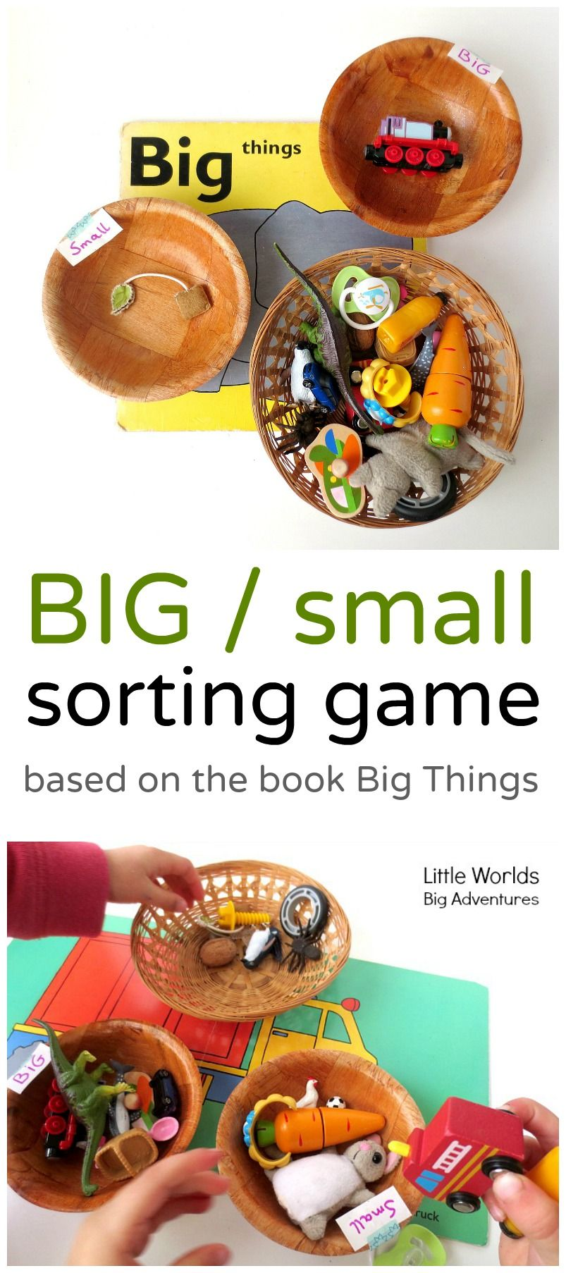 A sweet and simple BIG / small sorting activity toddlers and preschoolers will love! | Little Worlds Big Adventures