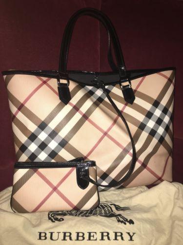 Authentic-BURBERRY-Large-Nova-Check-Tote-Bag-With-a-Pouch  d17f2bc099de5