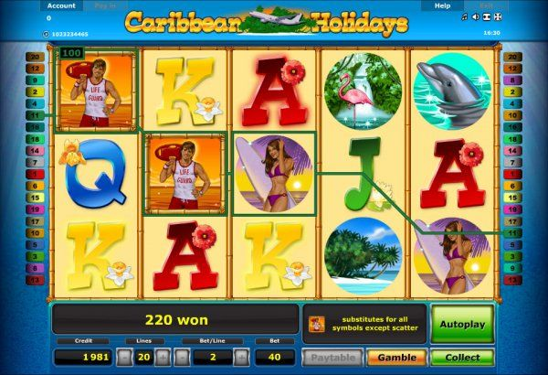 10/12/ · «Caribbean Holidays» is an online slot machine with five reels, fifteen symbols at the screen and twenty pay lines, where paid combinations are formed of the basic symbols.The rules allow playing «Caribbean Holidays» by five, ten or twenty active lines.Only the equal bets in range from two to eighty credits are accepted per each of the lines.