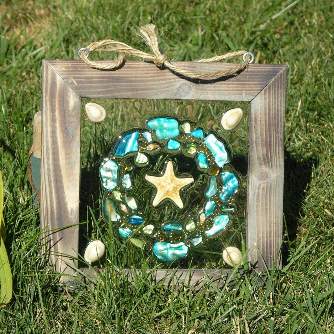 Armored starfish beach glass wreath by seasidesbydesign on