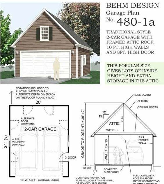 Garage Apartment Plans 24 X 30: Two Car Garage With Attic Plan 480-1a 20' X 24' (10' Wall