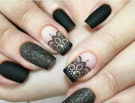 Diseño De Uñas Negras Manicura De Uñas Uñas Negras Y Uñas