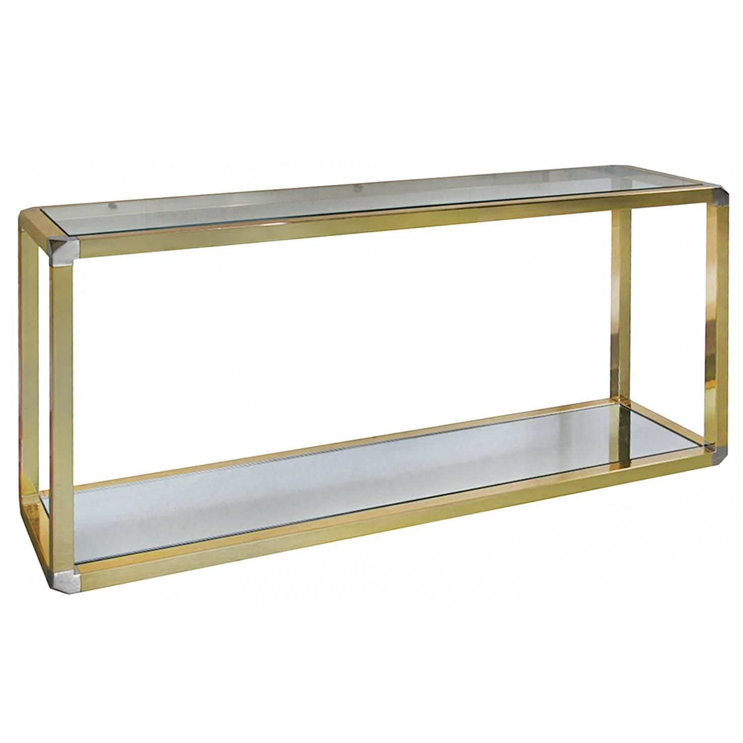 1970s french two tiered brass console table with faceted corners
