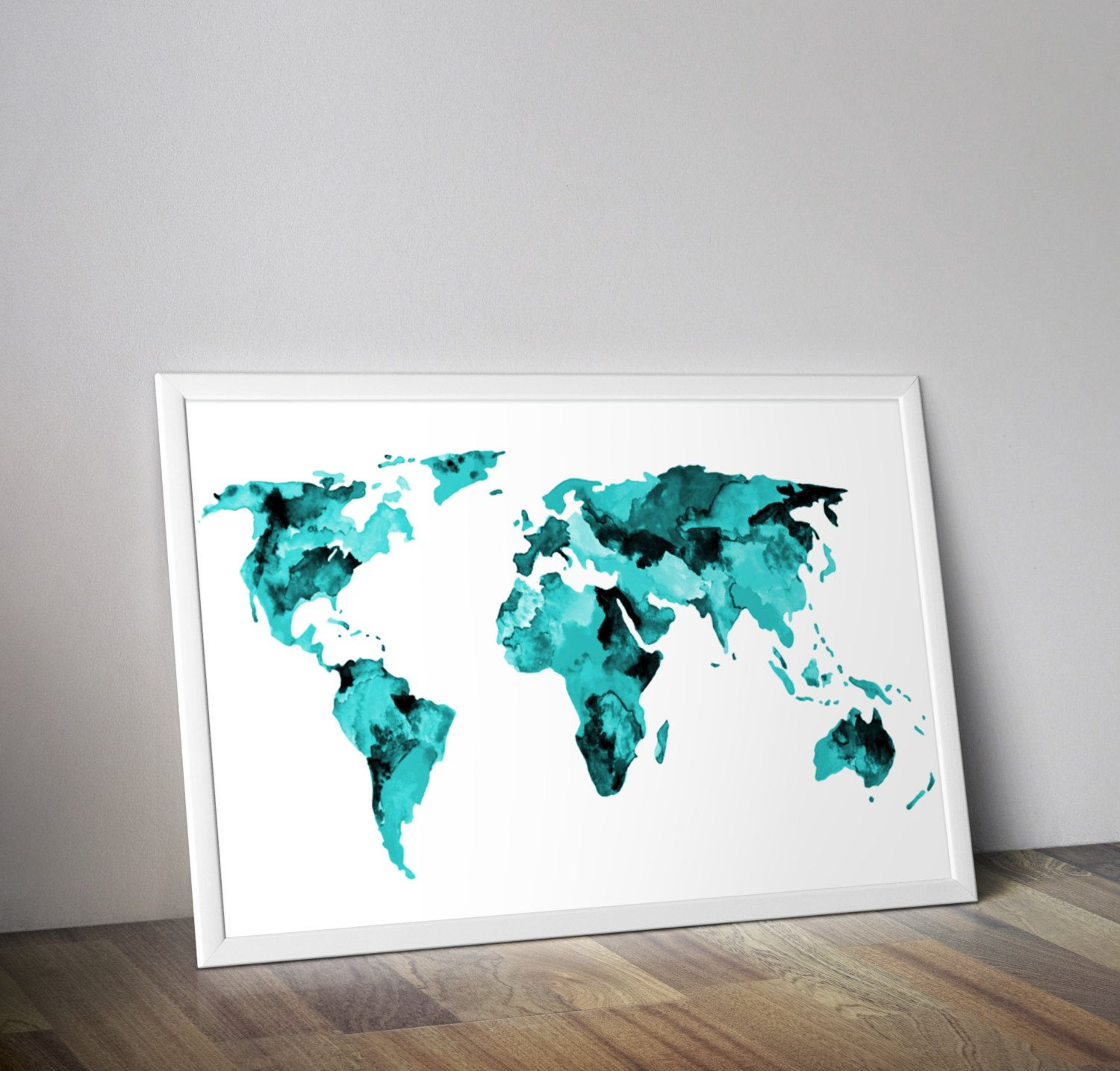 Teal world map watercolor map travel art watercolor map and wander original fine art print teal world map watercolor world map travel art gumiabroncs Image collections