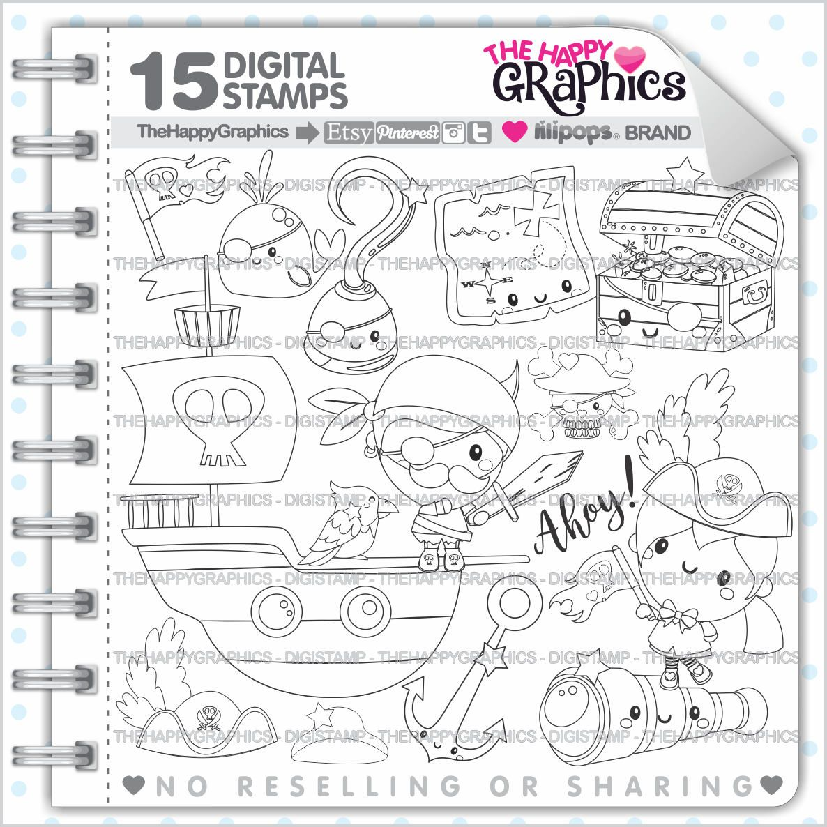 Pirate Stamp Commercial Use Digi Digital Image Digistamp Party Coloring Page