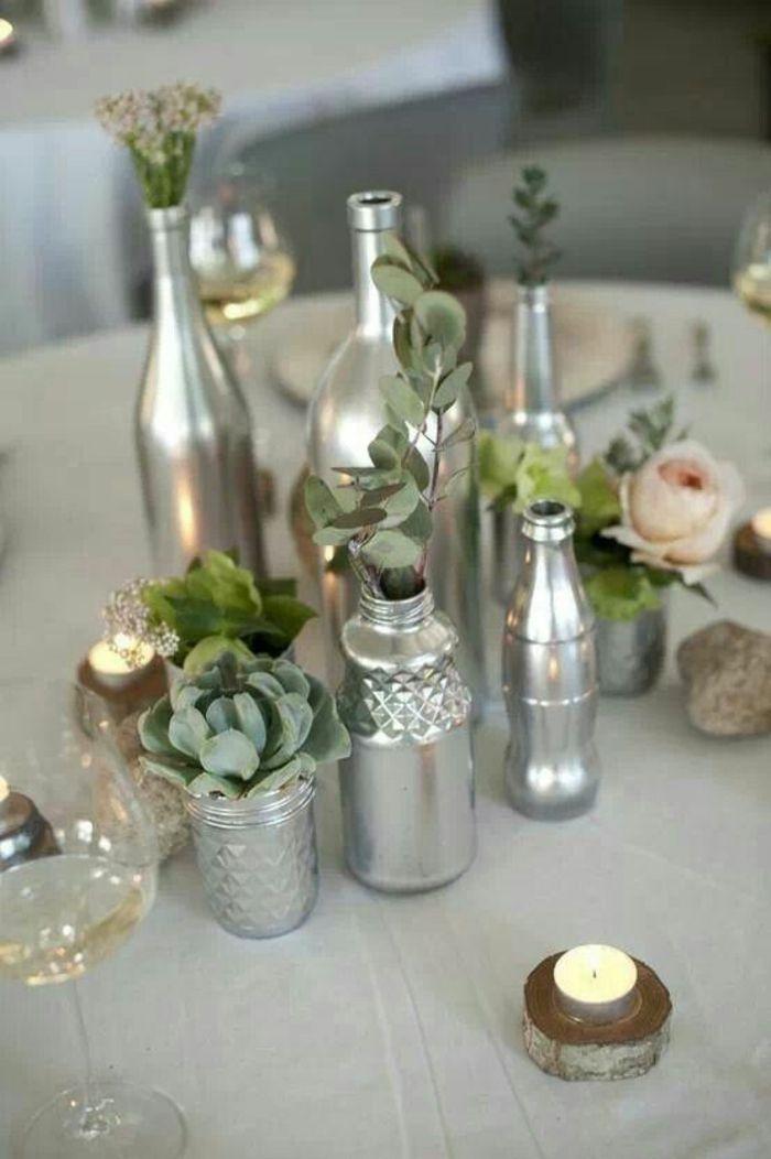 Tischdeko hochzeit naturlook  tischdekoration hochzeit blumendeko sukkulenten diy vasen silber ...