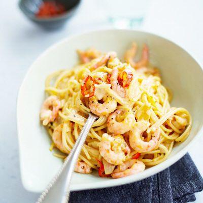 pasta med räkor chili