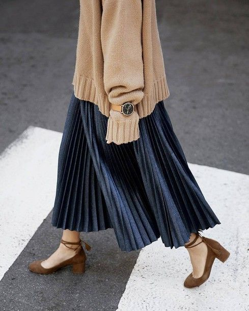 Skirt: tumblr black pleated pleated maxi sweater beige sweater watch shoes suede... 13
