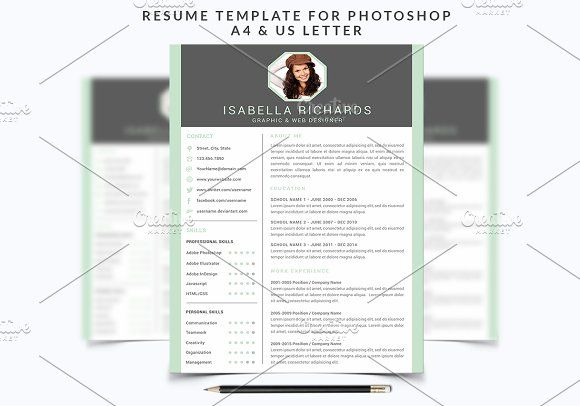 Resume Template  For Photoshop By NmDesignStudio On