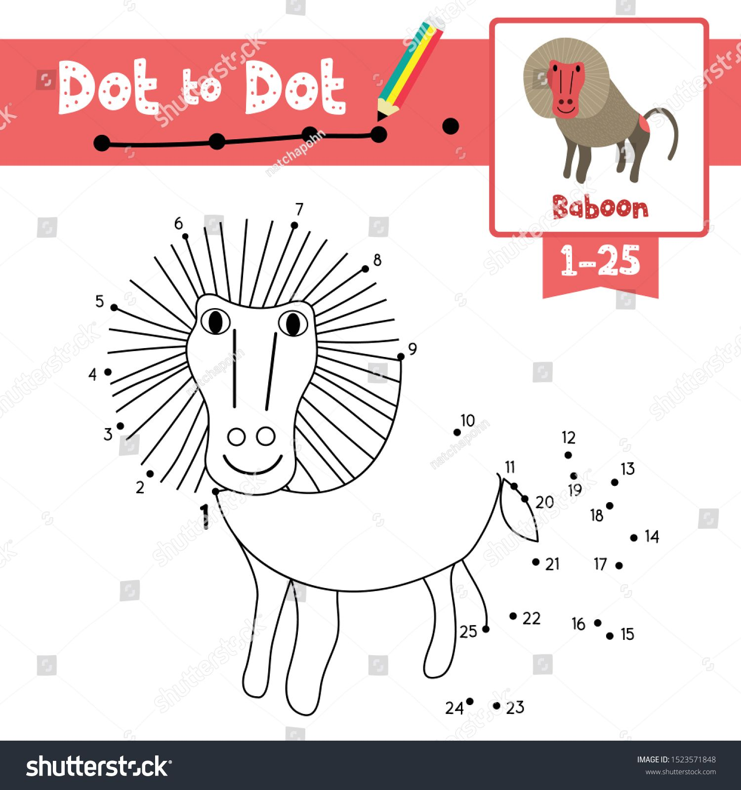 Dot To Dot Educational Game And Coloring Book Of Baboon