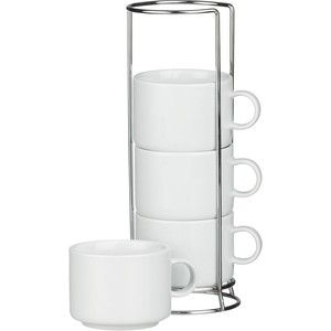 Crate Barrel Set Of 4 Stacking Coffee Mugs With Metal Rack