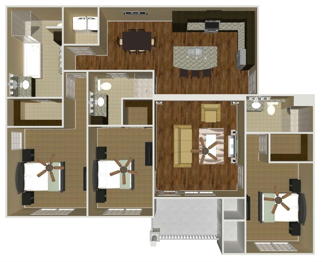 The Bentley (Three Bedroom) 1500 SF Apartment design