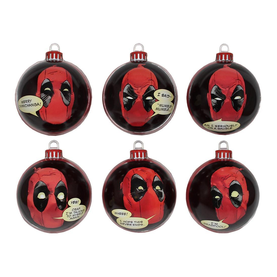 Marvel official deadpool christmas baubles pack of christmas