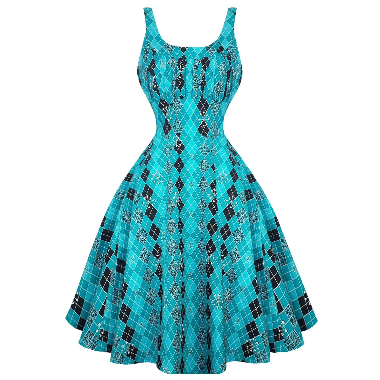 Womens Turquoise Blue Atomic 1950s Rockabilly Pinup Party Prom Dress ...