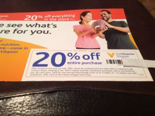 The Vitamin Shoppe 20 Off Entire Purchase Coupon Expires 12 1 13 Extreme Couponing Vitamin Shoppe Coupons