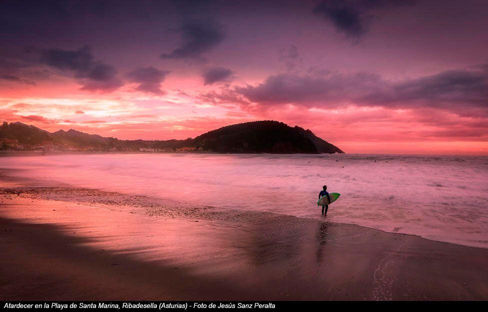 Atardecer en la Playa de Santa Marina, Ribadesella (Asturias) - Foto de Jesús Sanz Peralta