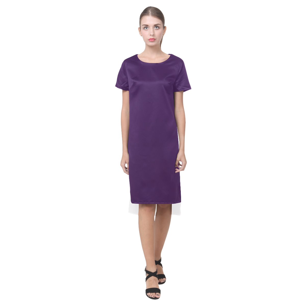 solid 13 Short Sleeves Casual Dress(Model D14)