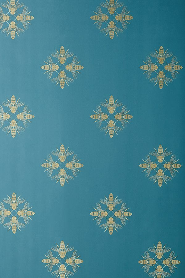 Honey Bee Wallpaper by Anthropologie in Blue, Wall Decor