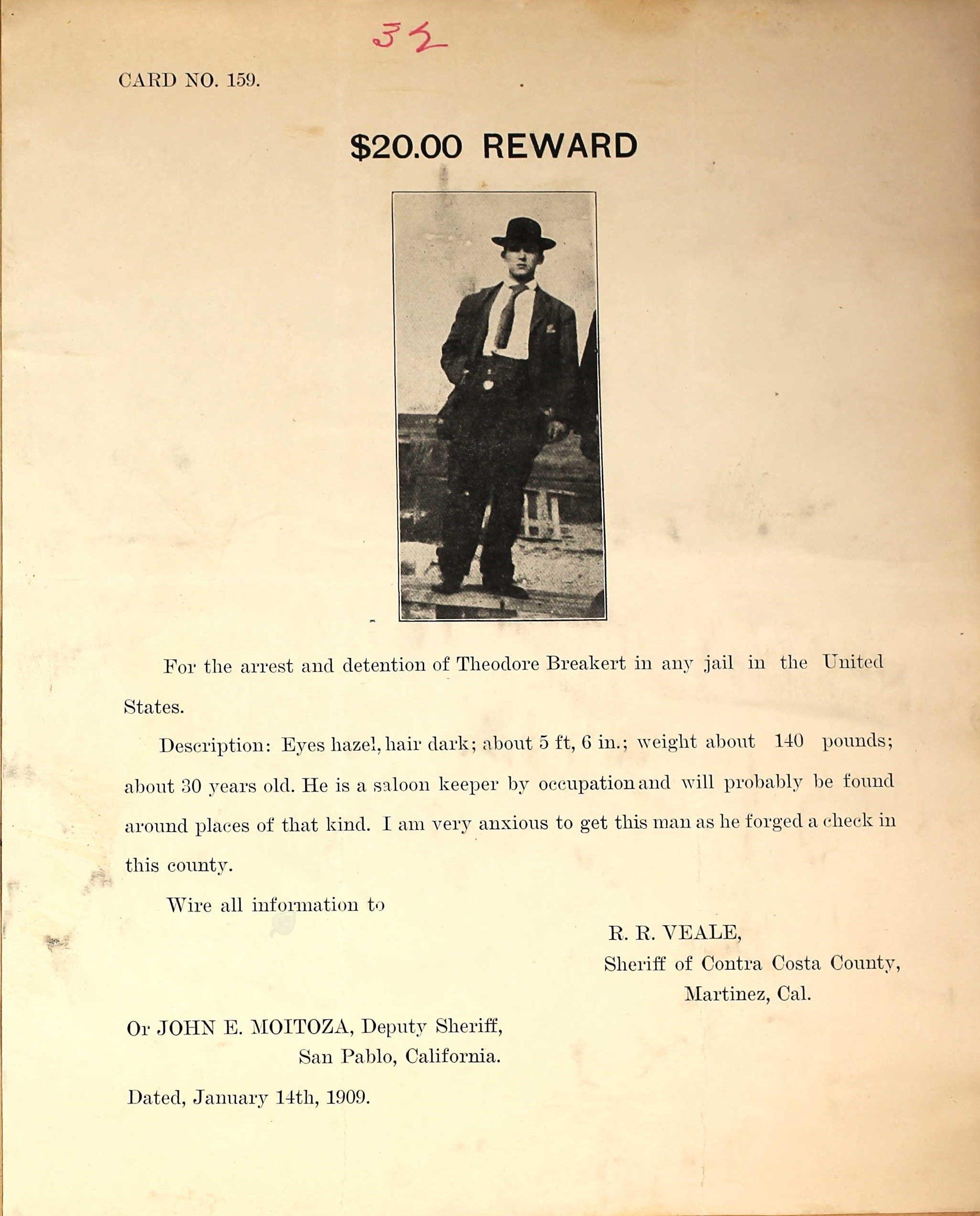 Theodore Breakert Wanted Poster