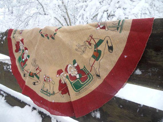 SALE20Vintage Swedish Christmas tree skirt Burlap Christmas tree