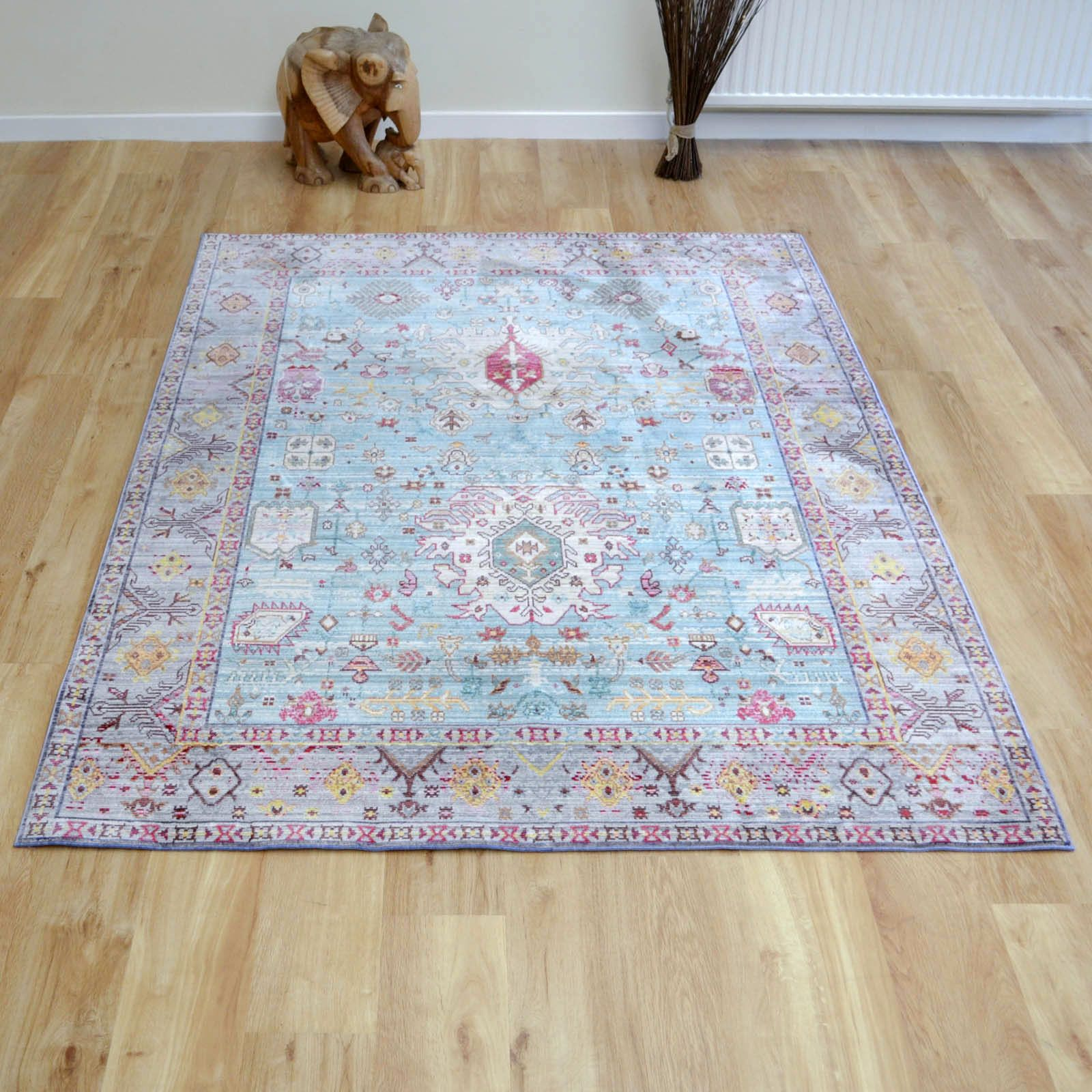 Aqua Silk Multi Coloured Traditional Rugs B044d Free Uk Delivery