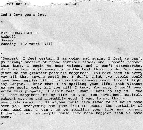 the tragedy of depression. virginia woolf's suicide note to her
