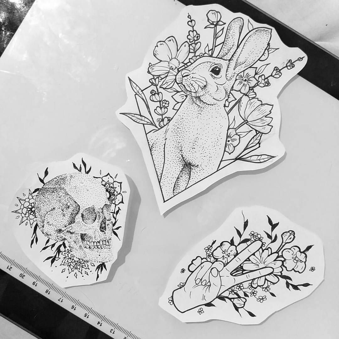 "Katherine [Miki] on Instagram: ""Some flash I drew up today. All available to tattoo  #ink #tattoodesign #tattoos #tattoo #design #drawing #illustration #bunny #bunnytattoo…"""