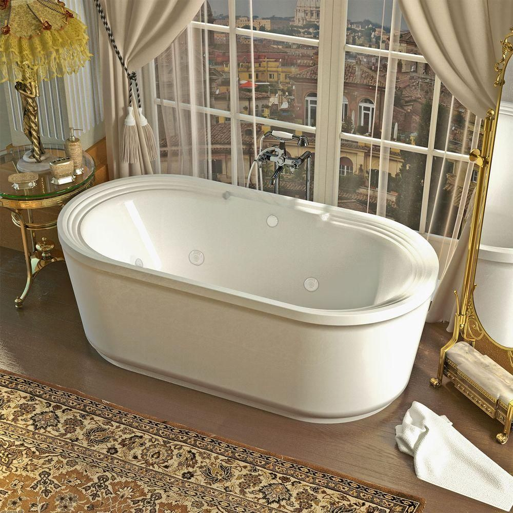Universal Tubs Pearl 5.6 ft. Center Drain Whirlpool and Air Bath Tub ...