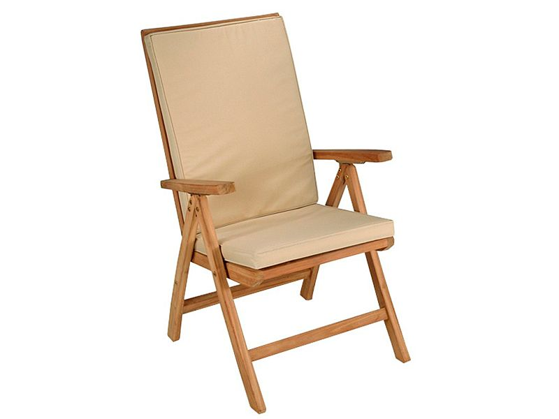 Silla reclinable en madera de teca, cojín color beige. www ...