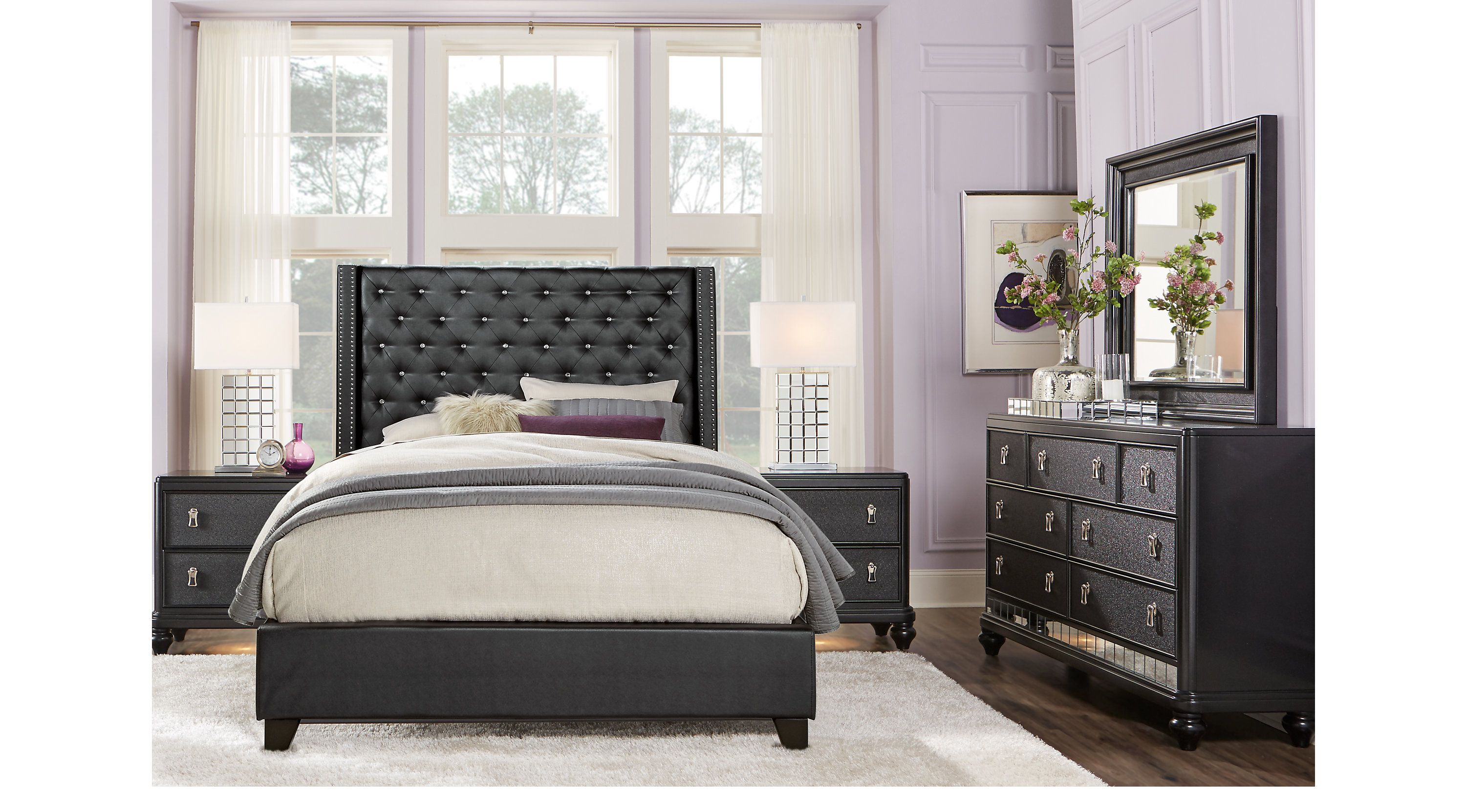 Sofia Vergara Paris Black 5 Pc King Upholstered Bedroom King Bedroom Sets Black King Bedroom Sets Bedroom Sets Queen Bedroom Sets