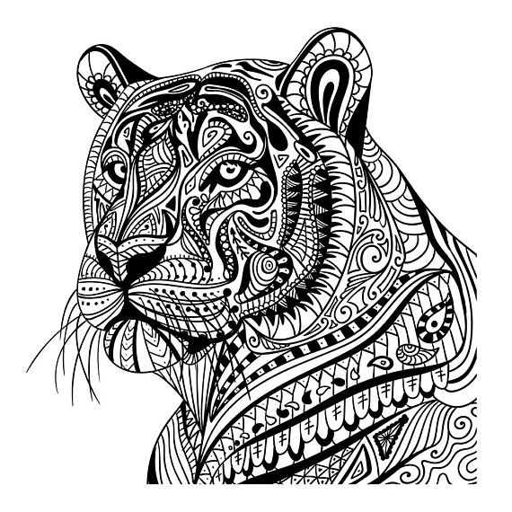 Tiger In Pattern Wall Sticker Mandala Animal Wall Decal Etsy Mandala Coloring Animal Wall Decals Mandala Coloring Pages