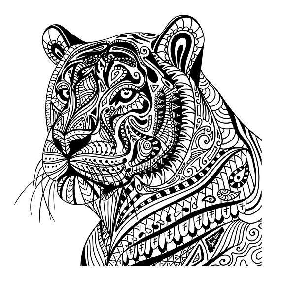 Tiger In Pattern Wall Sticker Mandala Animal Wall Decal Etsy Mandala Coloring Pages Mandala Coloring Mandala Coloring Books