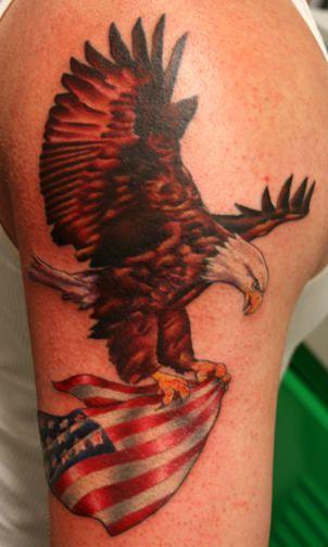 Eagle flag tattoo shoulder - photo#50