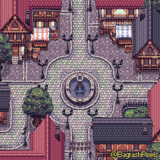[OC] Town Square PixelArt in 2020 Pixel art tutorial