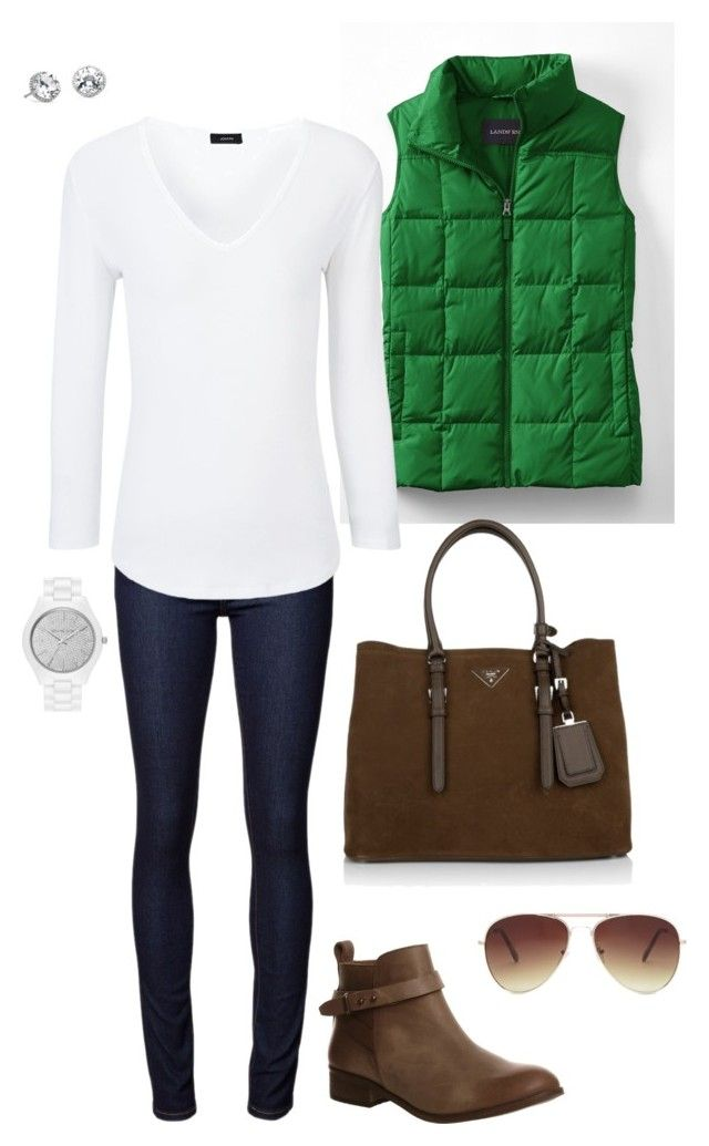 """Green Vest"" by kimzakaryan on Polyvore featuring Lands' End, Joseph, Office, Prada, Forever 21, Blue Nile, MICHAEL Michael Kors, women's clothing, women's fashion and women"