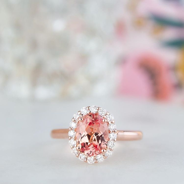 Just Peachy Link In Bio To Create Your Own Peach Sapphire Engagement Ring Peach Sapphire Engagement Ring Pink Engagement Ring Rose Gold Oval Engagement Ring