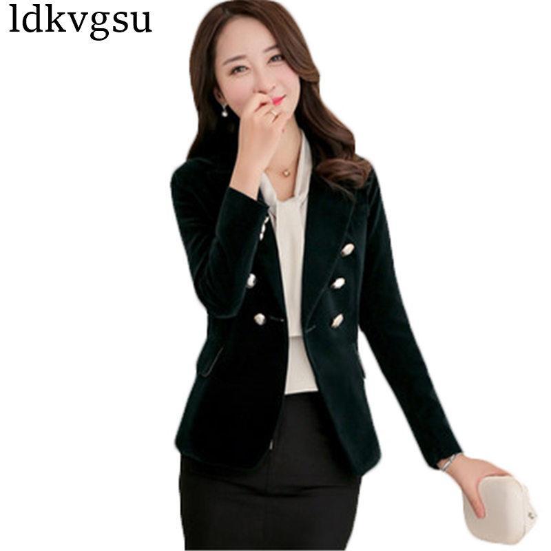 93cb05a44228 2018 Red Black Velvet Blazer Women Vintage Button Working Suit Jacket Female  Spring Korean Slim Blazers Formal Woman Coat A720
