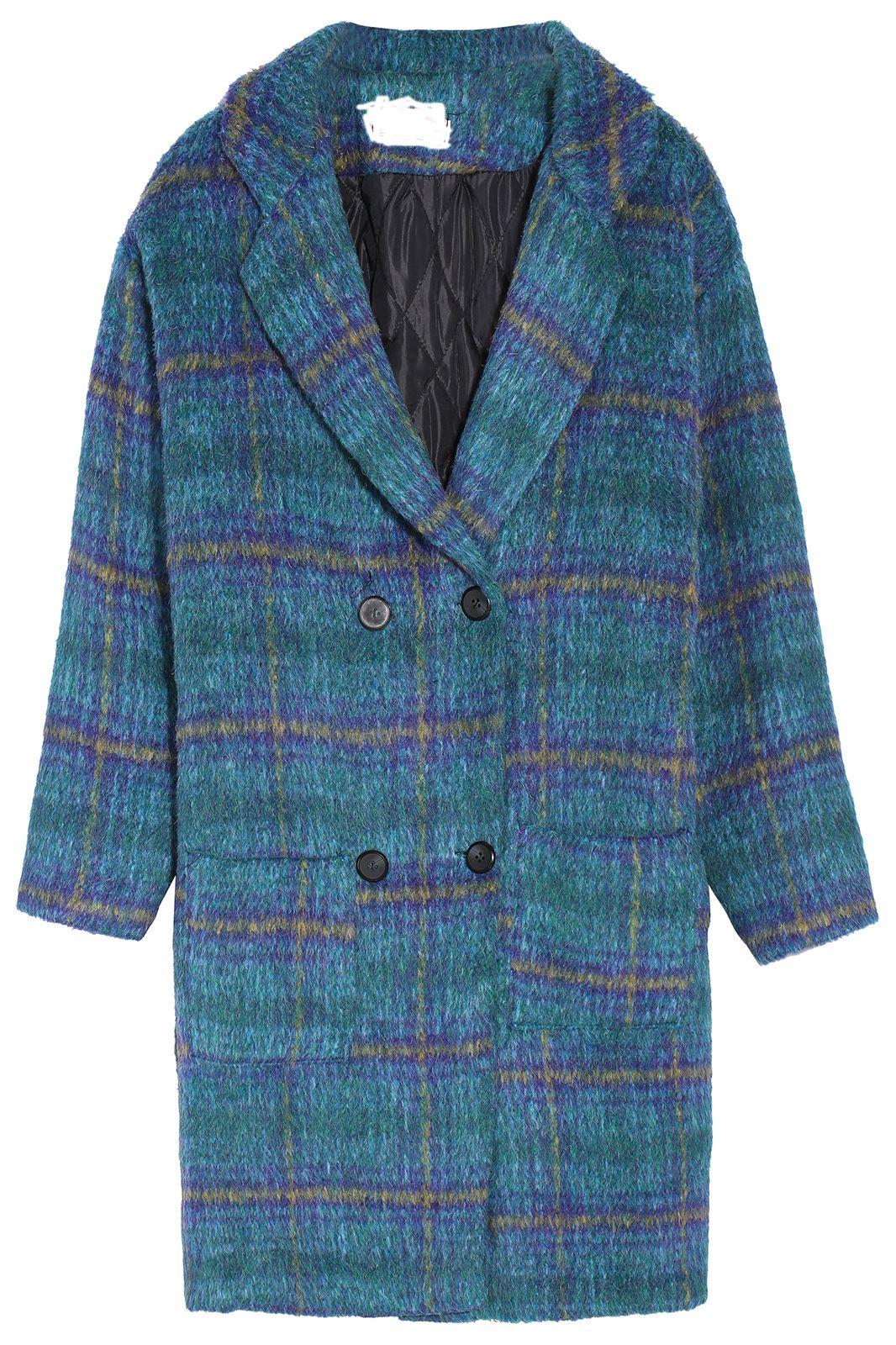 Check Print Pockets Blue and Green Coat