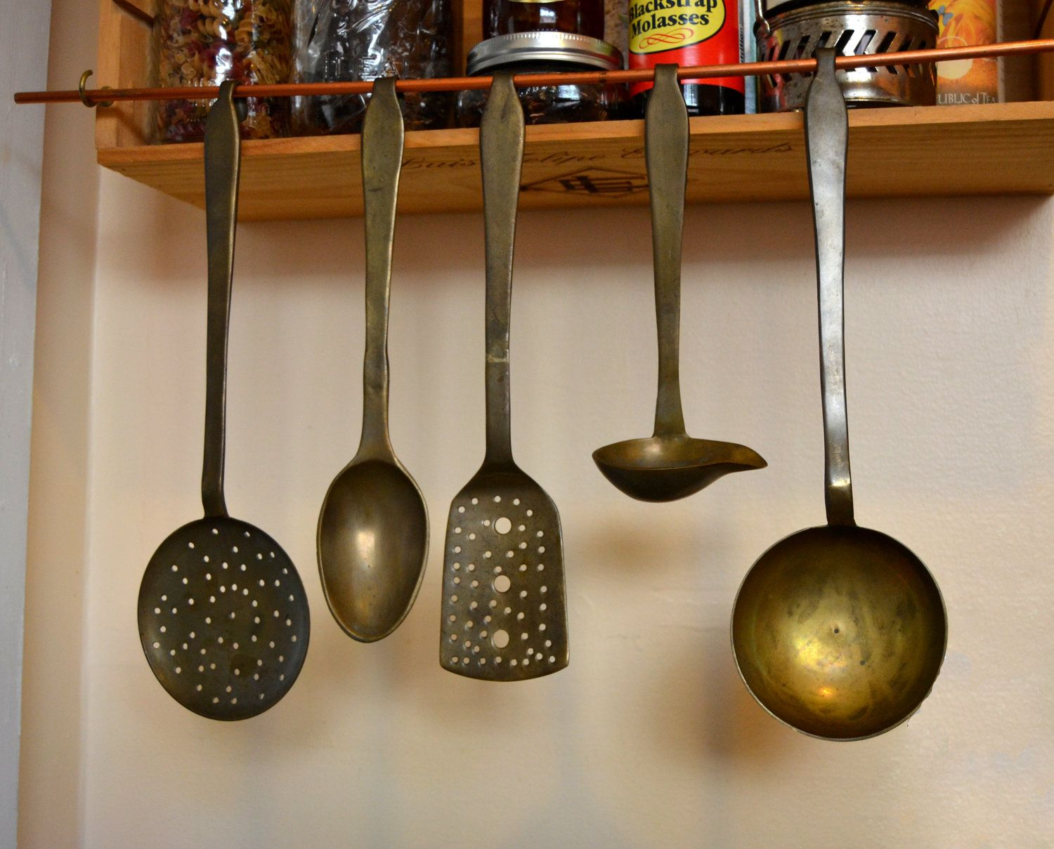 Reserved Vintage Solid Brass Cooking Utensils From India