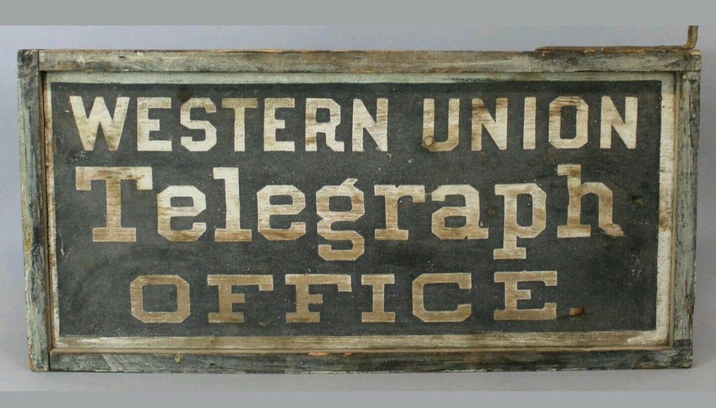 Original sand painted western union telegraph office sign home decor