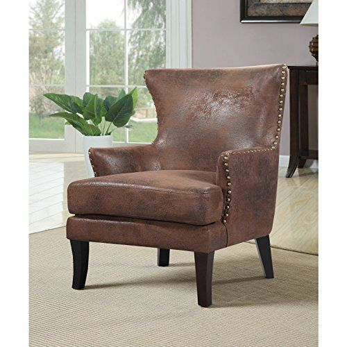 Overstock Zofia Arm Chair, Brown | Industrial living room ...