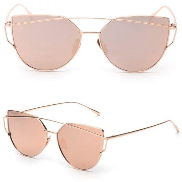 7f1cd5671 Womens Mirrored Flat Lens Metal Frame Cat Eye Sunglasses Gold Frame Pink  Lens
