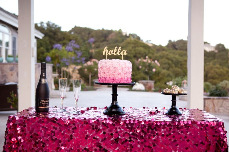 Awesome Happy Saturday, Sequin Tablecloth, Pink Sequin, Table Linens, Hot Pink  Sequin,