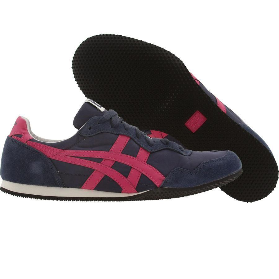 Asics Onitsuka Tiger Womens Serrano shoes in navy and pink