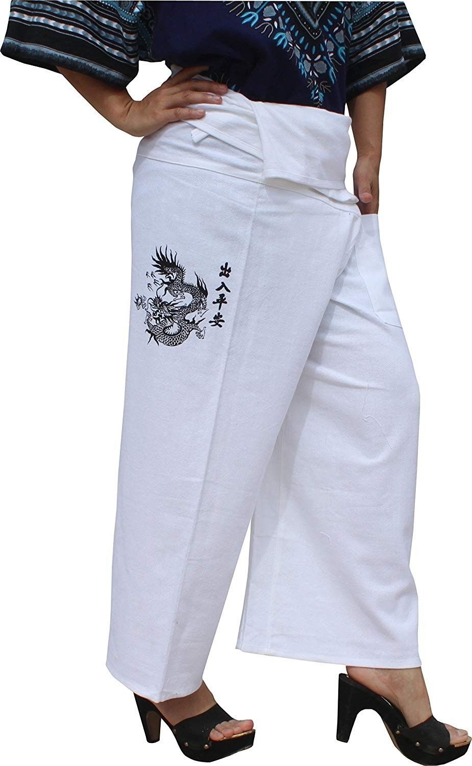 Chinese Good Luck Dragon Woodblock Print Cotton Fisherman Pants - White - C712O0C3VPG - Sports & Fit...