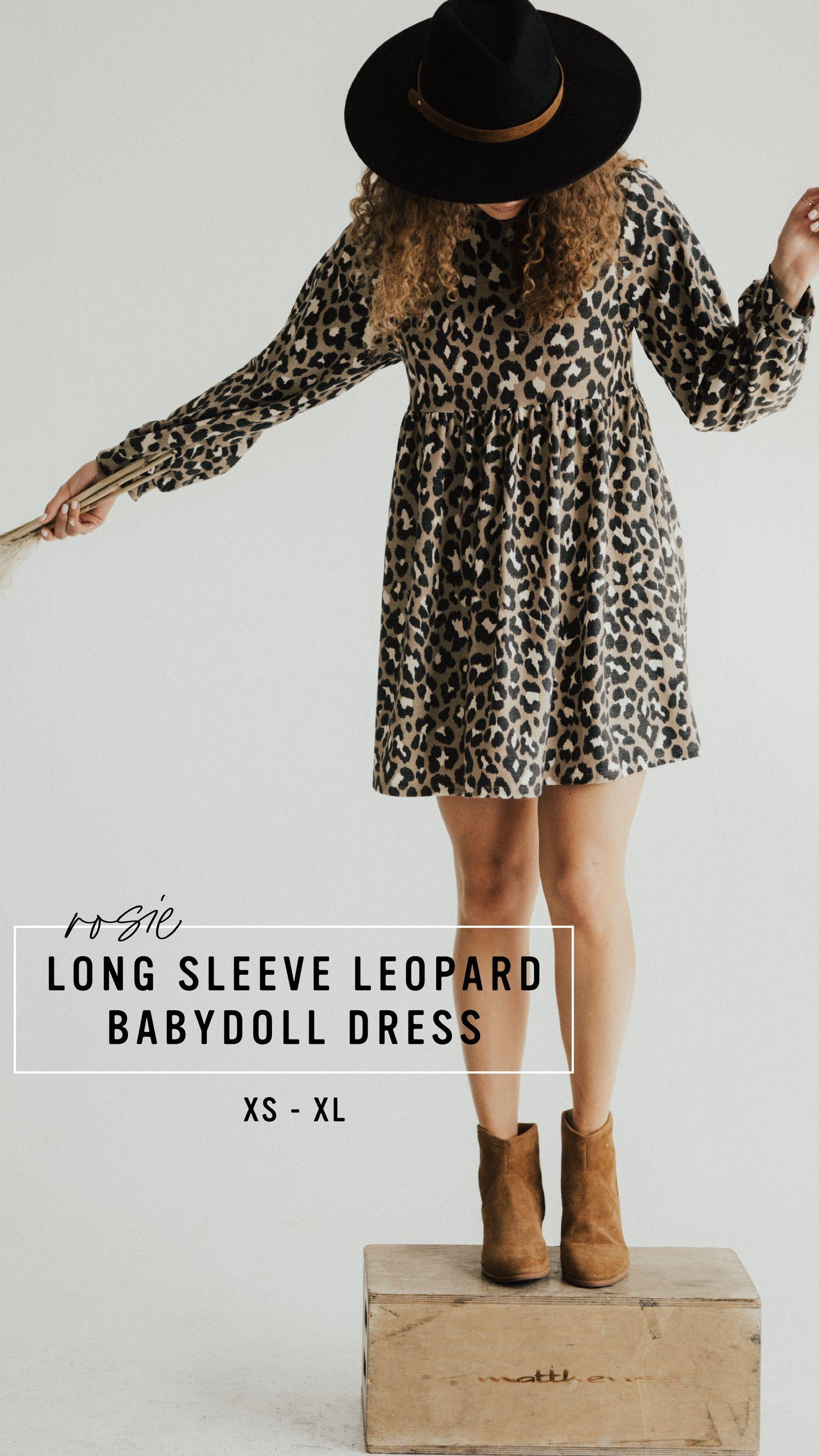 Rosie Long Sleeve Leopard Babydoll Dress Carly Jean Los Angeles Carly Jean Los Angeles Babydoll Dress Sweet Dress