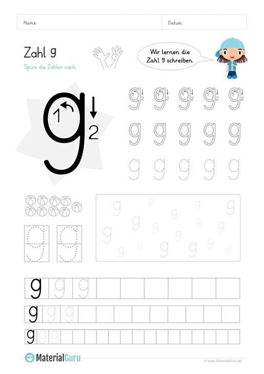 ein kostenloses mathe arbeitsblatt zum schreiben lernen der zahl 9 auf dem die kinder die zahl. Black Bedroom Furniture Sets. Home Design Ideas